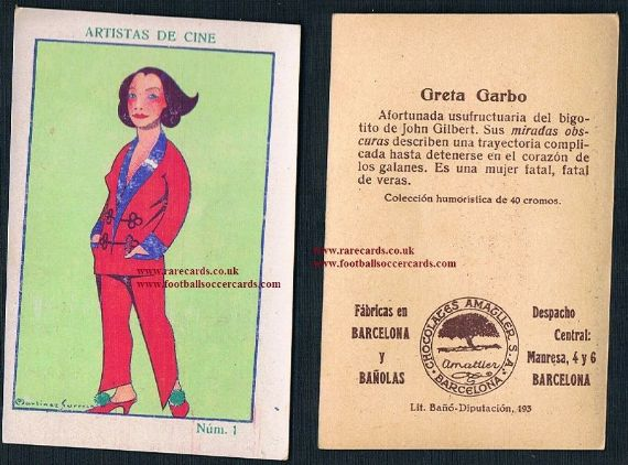 1920s Amatller Greta Garbo trade card Spain